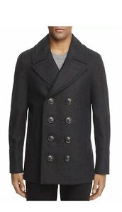 $1190 Burberry Claythorpe Double Breasted Wool Pea Coat Charcoal 42R NWT