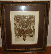 """ART signed large 35""""x30"""" royal Coat of arms frame 16/275 Vector heraldic Shield"""