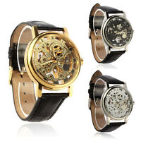 Mens Mechanical Skeleton Watch Hand Wind Up Leather Strap Wristwatch Hoc