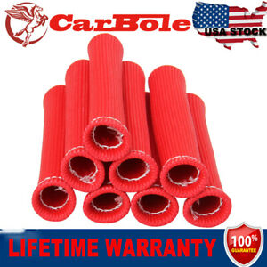 Red Set of 8PCS Spark Plug Wire Boot Heat Shield Protector Sleeve SBC BBC 15.5cm