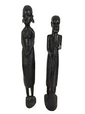 2 Tanzania Maasai Ebony Carved Fertility African Full Body Statues Vintage