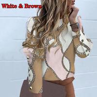Women Long Sleeve Print Blouse Shirt Back Button Office Lady Top Plus Size 67UK