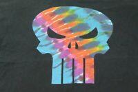 Marvel MAD ENGINE PUNISHER tie die rainbow skull black men's t-shirt XL