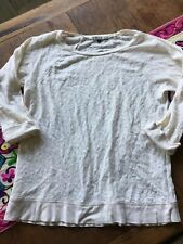 River Island Size 10 Off White 3/4 Sleeve Top With Lace Pattern