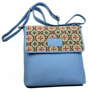 Yfenni Leather Light Blue Leather & Welsh Oatmeal Tapestry Cross Body Bag
