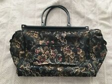 "ATLANTIC VTG. Luggage 14""  Tapestry Carry On Weekend Green Floral WITH BONUS BAG"