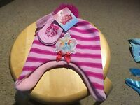Disney Princess Hat and Mittens Set.  Pink Striped.  Girls.