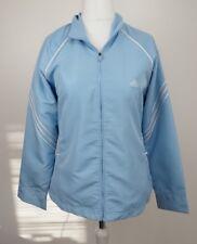 Adidas Light Blue Womens White Three Stripe Coat Jacket ClimaLite UK 16