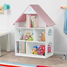 Kids Childrens Wooden Doll House Bookcase Shelf Storage Rack Organiser Bookshelf