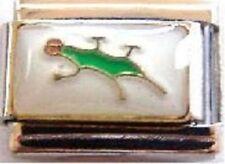 Gecko lizard on white enamel 9mm stainless steel italian charm bracelet link new