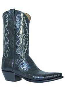Men's Lucchese Classic Cowboy Boot E2147.54 Black Caiman-Black buffalo
