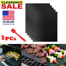 5Pcs Bbq Grill Mat Mesh Non Stick Grilling Sheet Liner Cooking Barbecue Baking