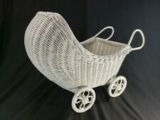 Vintage Wicker Hooded Doll Buggy Stroller Baby Carriage White Wood