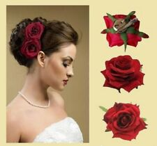 Fashion Red Fabric Rose Flower Hair Clip For Women ( Pack Of 2 )