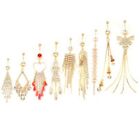 Rhinestone Golden Belly Button Ring Dangle Navel Body Jewelry Piercings Tasse Sc