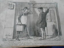 Caricature 1853 L'artiste peintre chambre à louer Portier