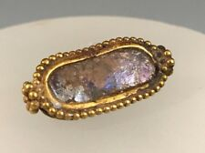 Ancient Roman Ring Bezel With An Iridescent Roman Glass Center Piece! Charming!