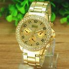 Golden Elegant Geneva Women Girls Bracelet Band Rhinestone Quartz Wrist watch