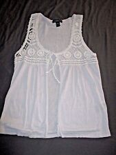 August Silk Crochet Hippie BOHO Vest Ties Large 12 14 Trendy Style Shirt  A13