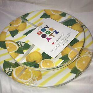 NOVAGRATZ Outdoor Set of 8 100% Melamine Plates Lemon