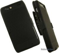BLACK RUBBERIZED HARD CASE COVER + BELT CLIP HOLSTER STAND FOR MOTOROLA PHONE