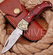 CUSTOM HAND FORGED DAMASCUS STEEL BACK LOCK POCKET FOLDING HUNTING KNIFE 7704