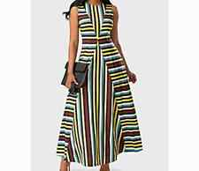 Stipe Maxi Dress - Yelow/Green - Size 14 - New