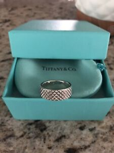 Tiffany & Co Diamond Point Wide Ring Sterling Silver Size 8 Unisex