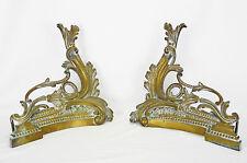 Ancienne paire de chenets rococo  en bronze doré  ACCESSORY fireplace cheminée