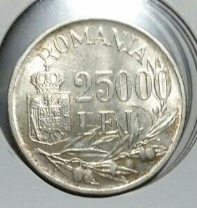 Romania 1946 Silver 25000 Lei  Mihai I. BU-UNC. Full  luster