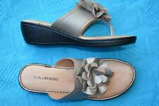 COLORADO Pewter Leather THONGS/SANDALS Size 10. RRP$89.95 Casual Style NEW
