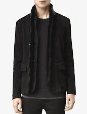 All Saints Survey/Graft Black Leather Blazer Jacket Extra Small Navy Wool XS NEW