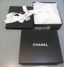 Chanel Black Empty Gift Box Storage Rose Ribbon Tissue + Extra Box Two Boxes