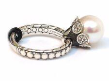 NWT JOHN HARDY Women's White Dot Charm Ring Silver 10mm Pearl & Diamond Size 6