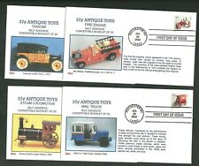 4 Different Antique Toys First Day Covers Unaddressed By BGC Fire Engine Taxi