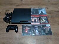 Sony PlayStation 3 Slim 160GB Bundle W/ 7 Games, 1 Controller