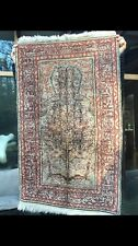 Vintage Kayseri Ipek Silk Tree of Life Turkish Prayer Rug Wall Hanging 2x3ft