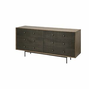 Medium Brown Solid Mango Wood Finish Sideboard With 6 Easy Sliding Drawers