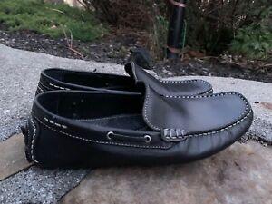 Via Spiga Loafers Driving Mocs Size 8.5M  Black Leather Boho Retro ECU