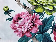 SALE! Delightful Cottage Floral Barkcloth Vintage Fabric Pillow Size Remnant DIY