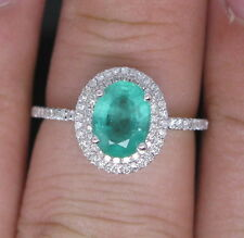 Natural Green Emerald Engagement Wedding Diamonds Ring Solid 14K White Gold