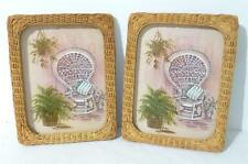 2 Homco Plastic Wicker Framed Stapco Litho Cottage / Shabby Chic Pictures