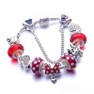 NEW Disney Mickey Mouse & Minnie Mouse Bracelet European Charms Pendants Jewelry