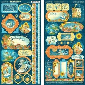 """Graphic 45 Dreamland Collection 12"""" Cardstock Tag Label Accent Border Stickers"""