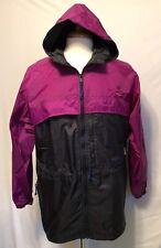 Columbia Pullover Windbreaker 1/4 Zip Womens L Purple / Black PACKABLE Hooded