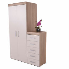 5 Drawer Tall Boy Chest & 2 Door Wardrobe White & Sanoma Oak Effect Bedroom Set