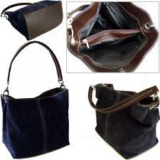 Navy Blue Italian Real Suede Leather Shoulder Handbags Ladies Totes Weekend Bags