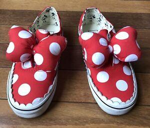 Women's Vans x Disney Minnie Mouse Bow Slip On Sneakers Size 7
