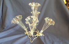 Early 20th Century Plata Plateado EPERGNE-nuestro vidrio trompetas
