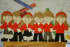 School children Winter uniform 9cm toppers for cards/ gifts/ scrapbooking
